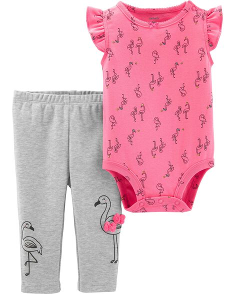 2-Piece Flamingo Bodysuit Pant Set