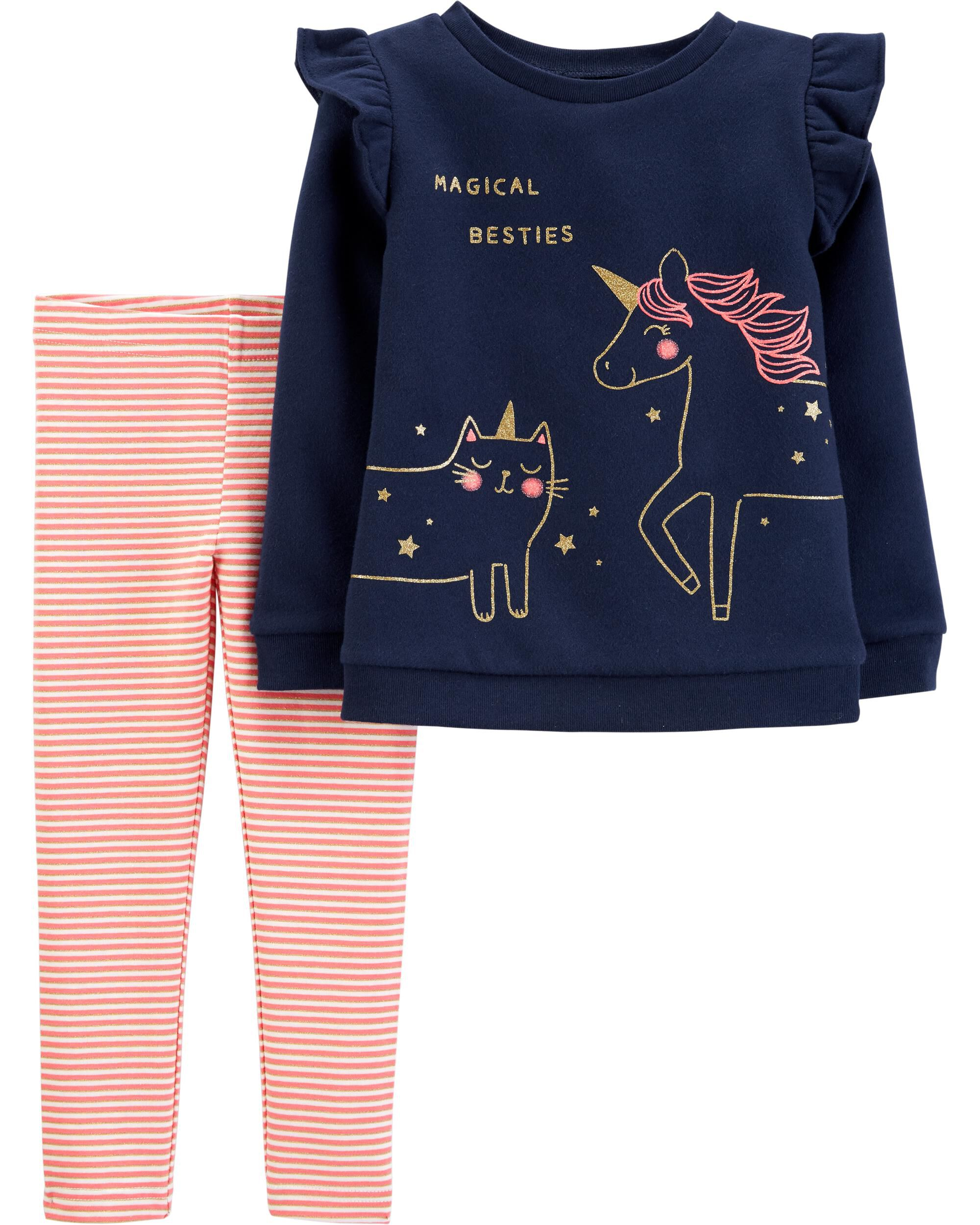 *CLEARANCE* 2-Piece Unicorn Fleece Top & Striped Legging Set