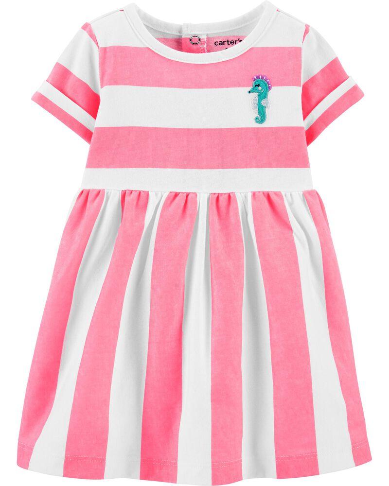 Striped Seahorse Jersey Dress, , hi-res
