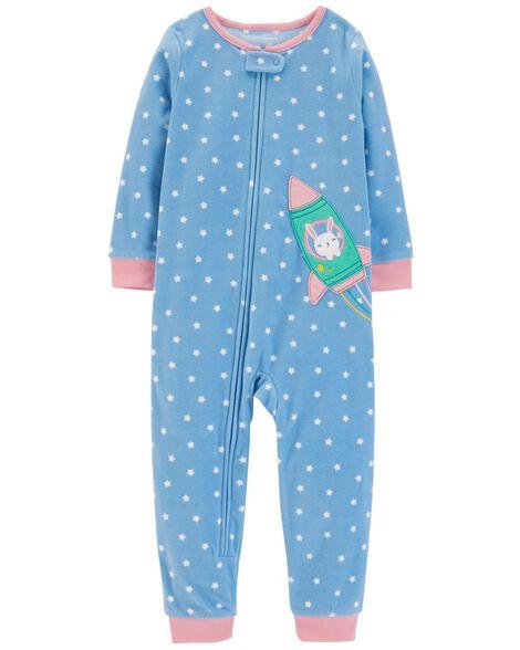 1-Piece Polka Dot Fleece Footless PJs