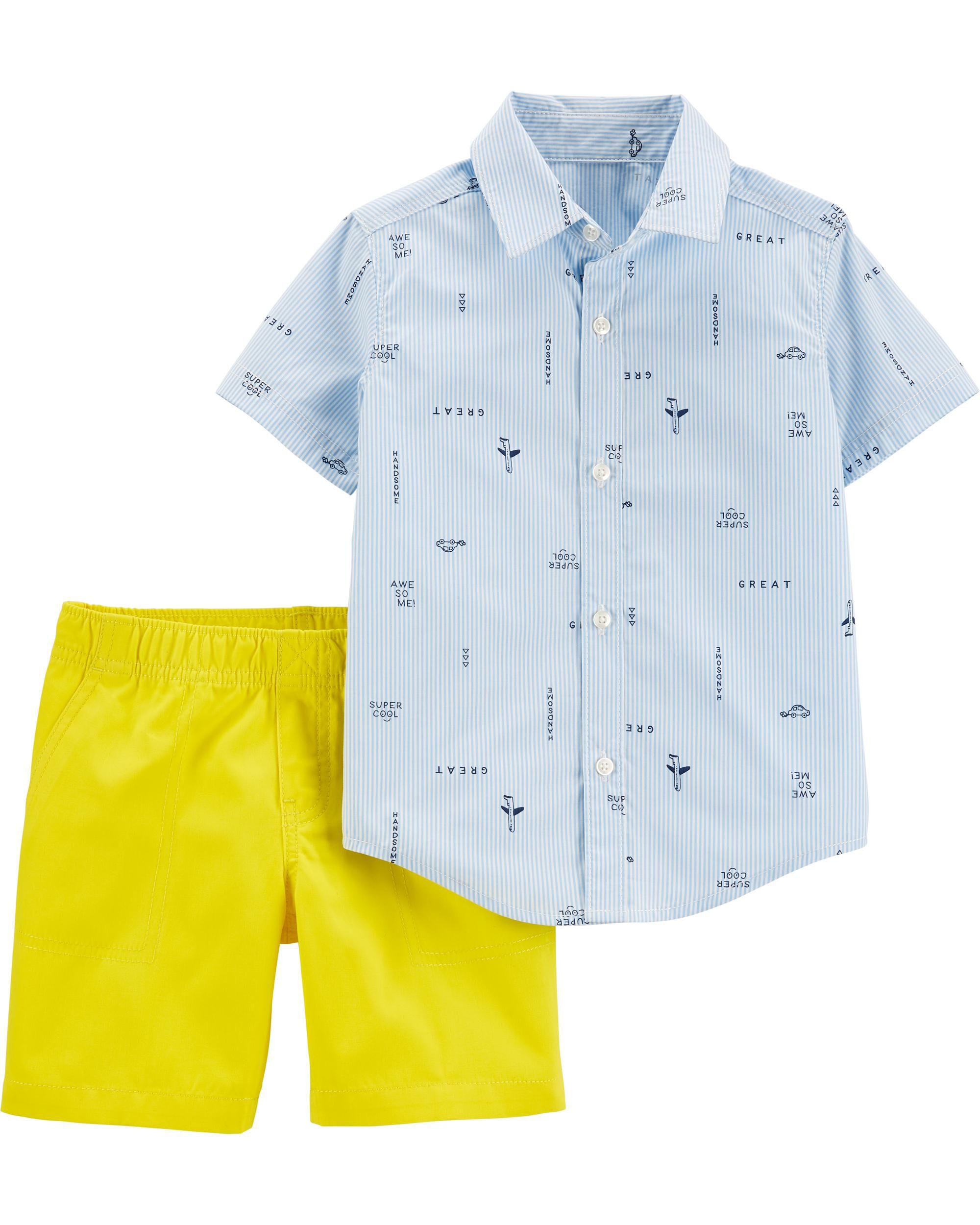 2-Piece Striped Button-Front Shirt & Canvas Short Set