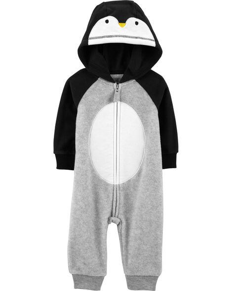 Hooded Penguin Fleece Jumpsuit