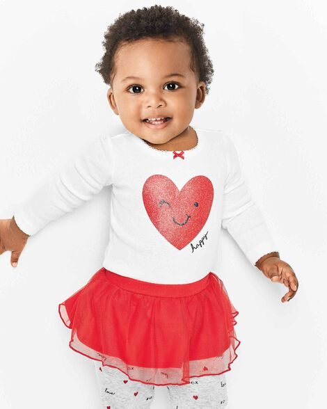 2-Piece Valentine's Day Bodysuit & Tutu Pant Set