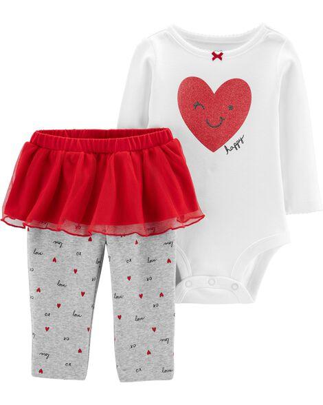2-Piece Valentine's Day Bodysuit & Tutu Pant Set