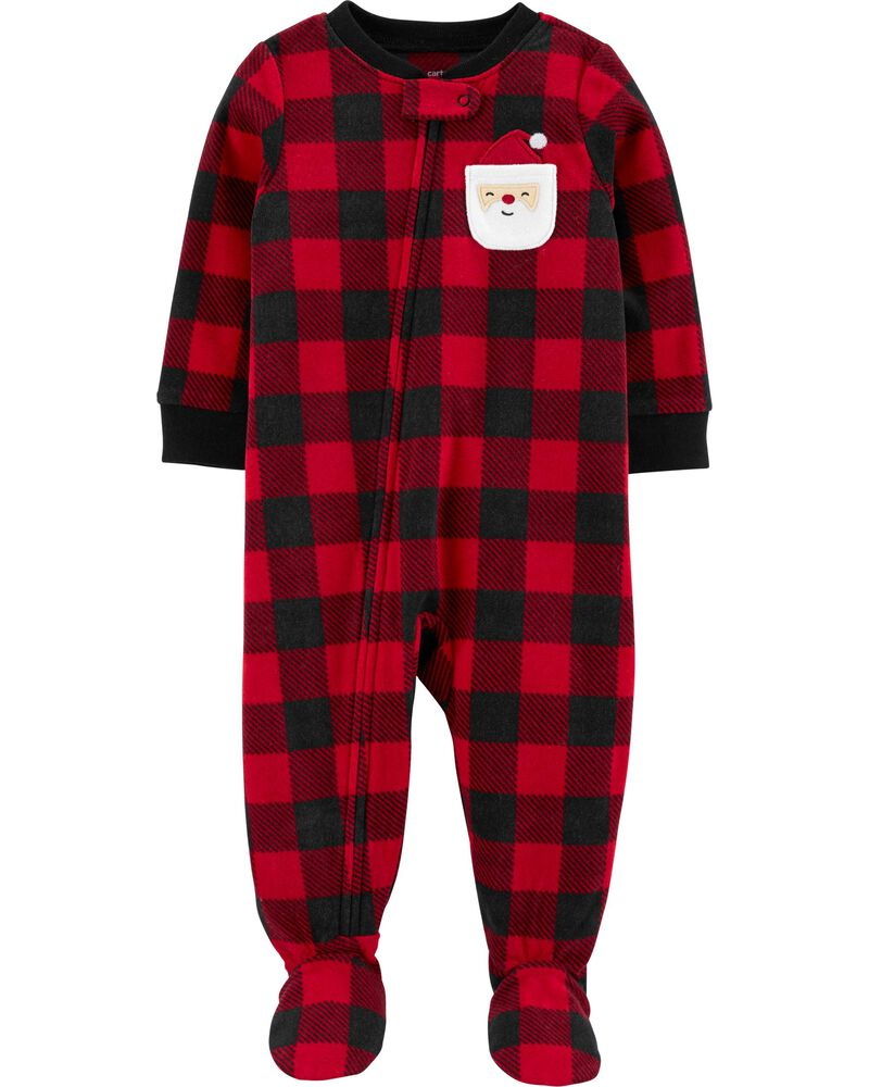 Christmas Footie Pajamas For Kids.1 Piece Christmas Buffalo Check Fleece Footie Pjs Carters Com