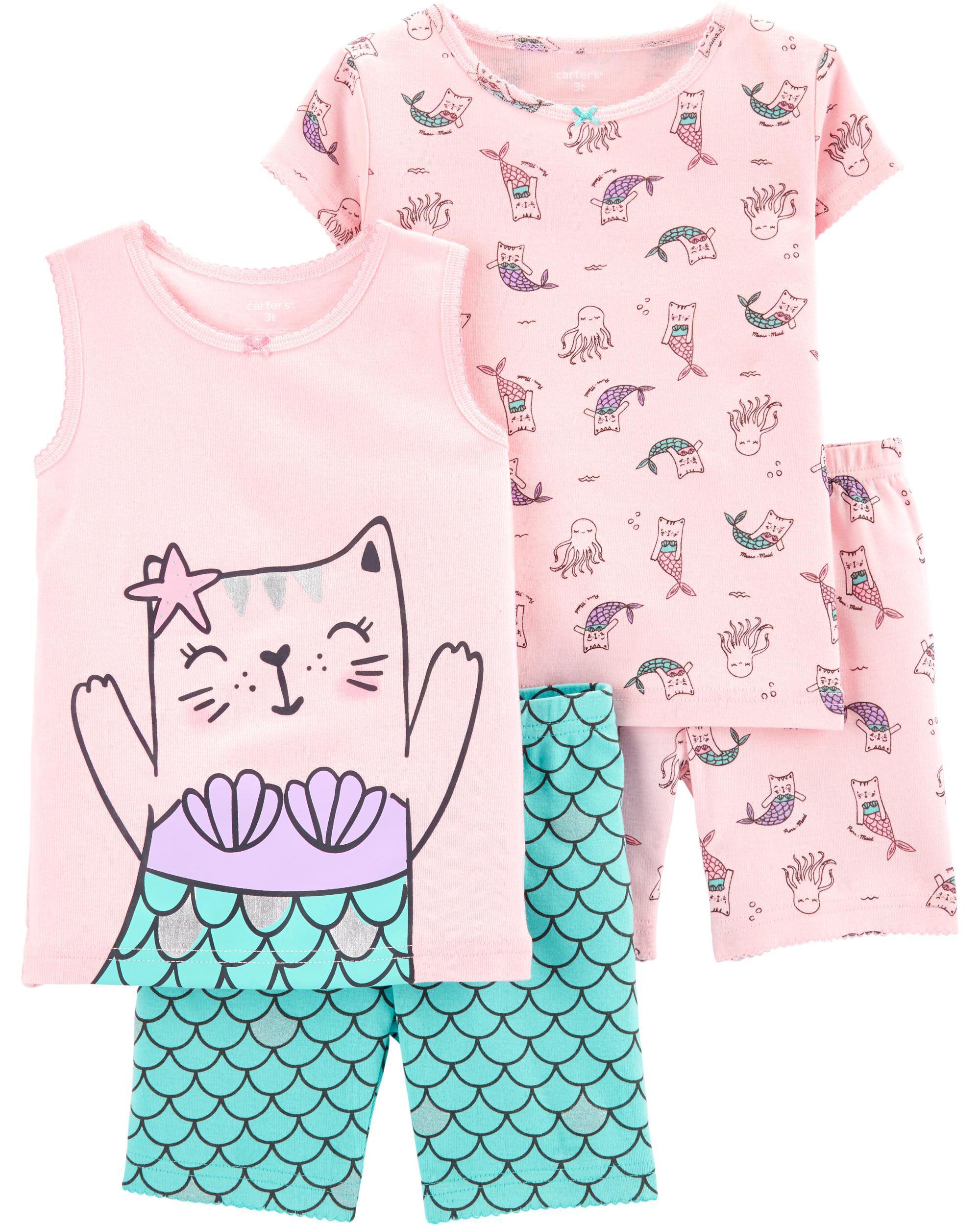 *CLEARANCE* 4-Piece Cat Mermaid Snug Fit Cotton PJs