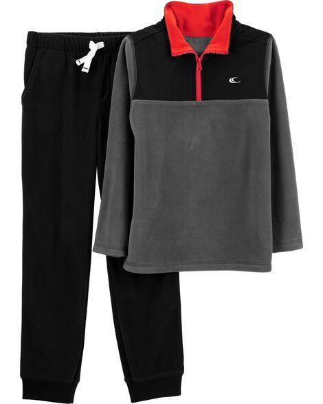2-Piece Half-Zip Fleece Pullover & Jogger Set