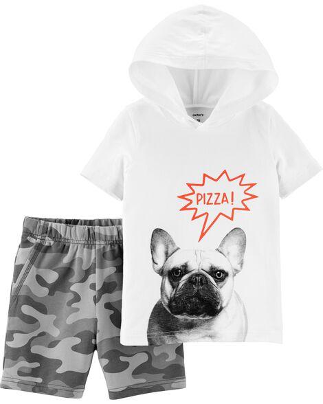 2-Piece French Bulldog Hoodie & Camo Short Set