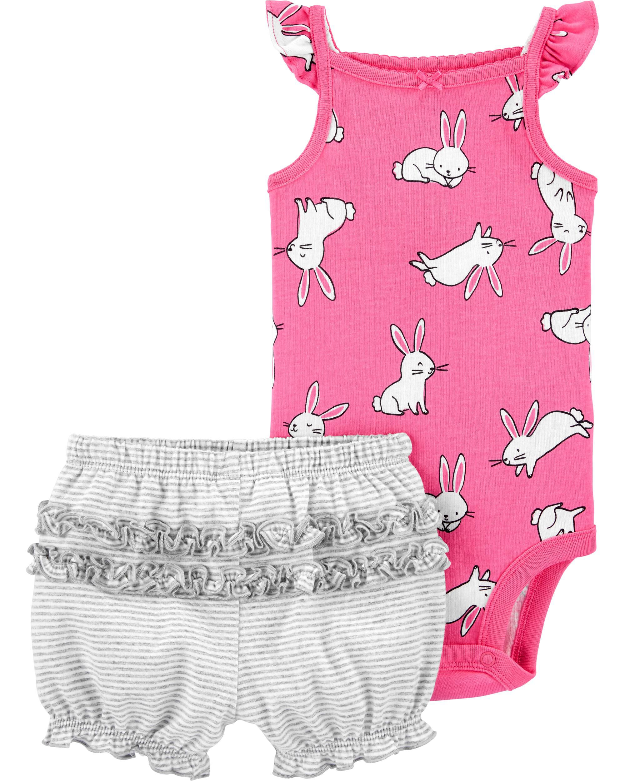 Carters Baby Girls One Piece Pink Checks Print Swimsuit
