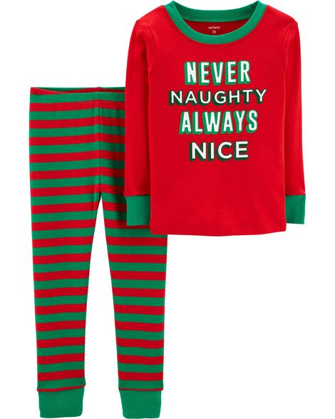 2-Piece Kid Christmas Snug Fit Cotton PJs
