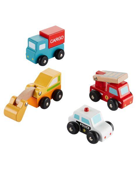 4-Pack Wooden Car Set
