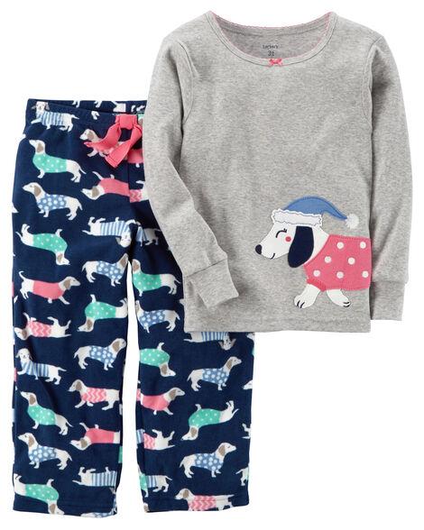 d6ff5159338a 2-Piece Dog Cotton   Fleece PJs