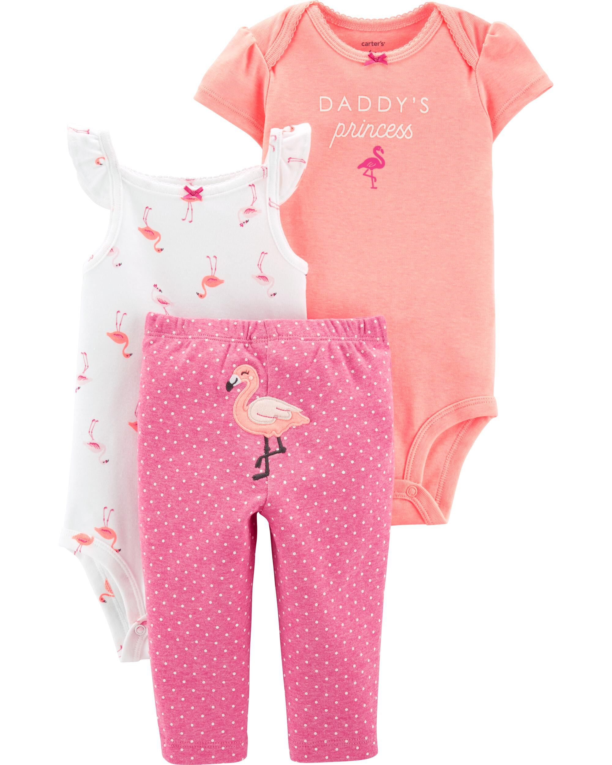 63324d4bd 3-Piece Neon Flamingo Little Character Set | Carters.com