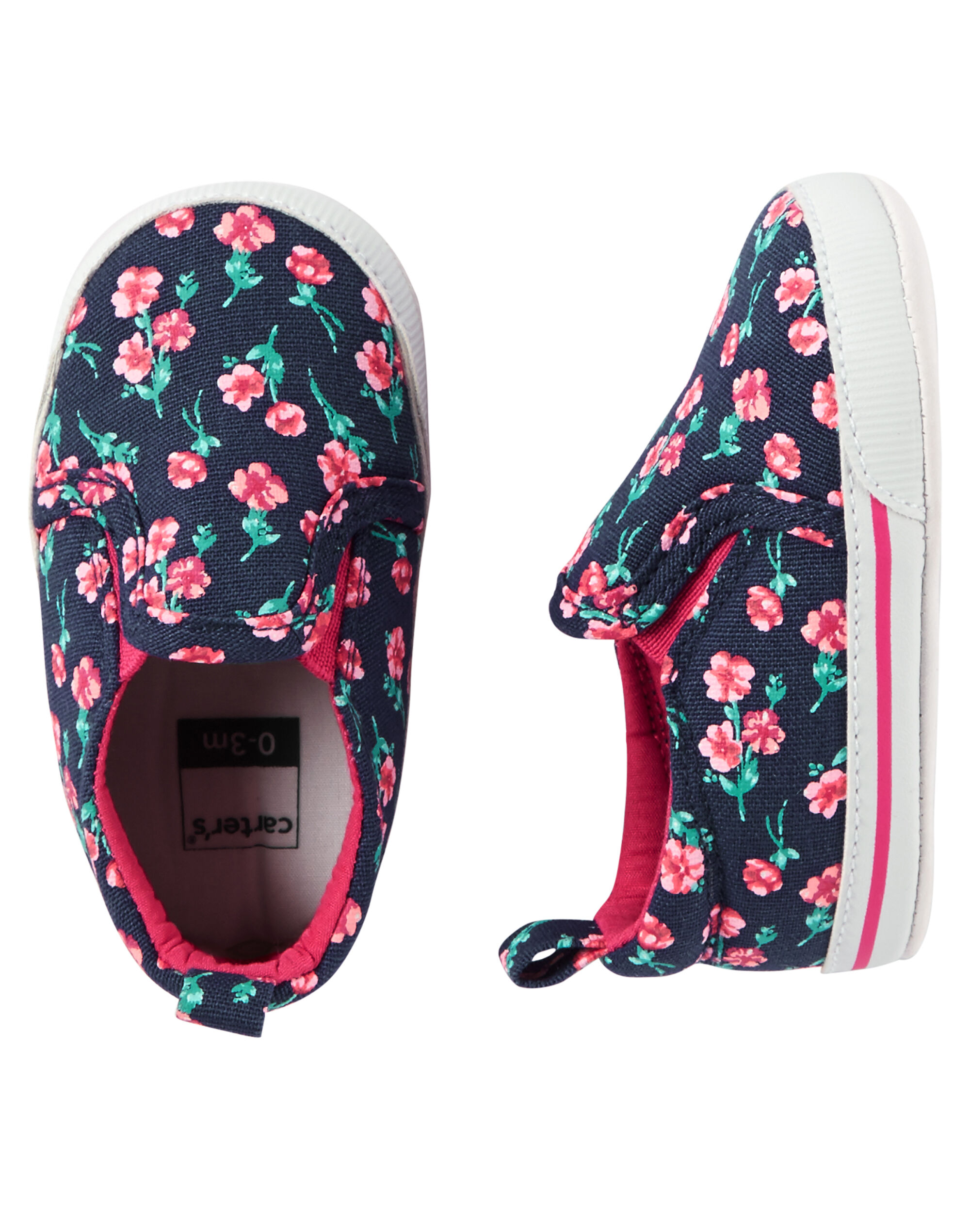 Carter S Floral Slip On Crib Shoes Carters Com