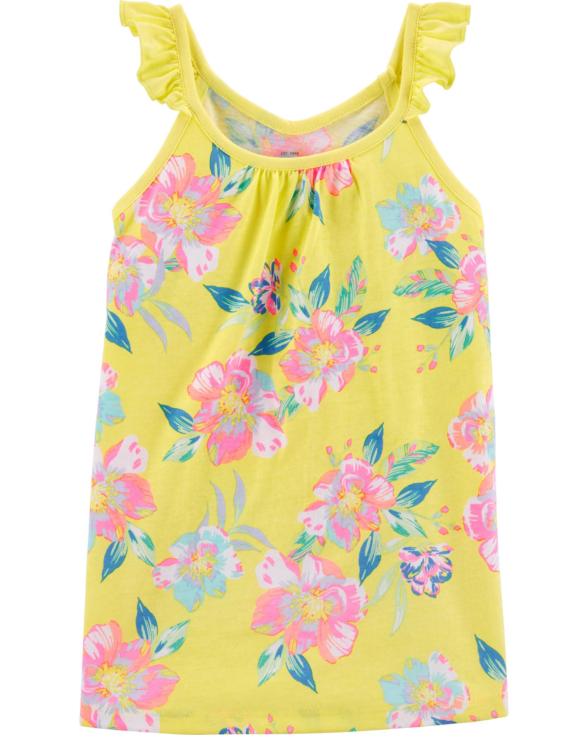 *CLEARANCE* Tropical Floral Ruffle Tank