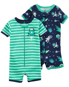 Carters Clearance 2 Pack Zip Up Snug Fit Cotton PJ Rompers