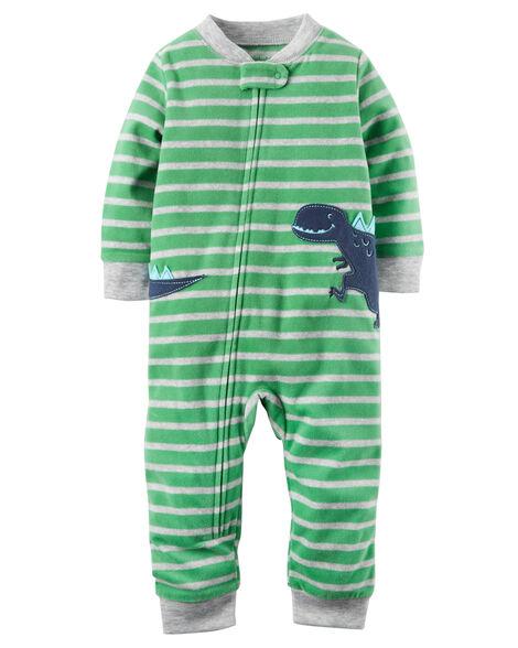 83255bc7886c 1-Piece Dinosaur Fleece Footless PJs