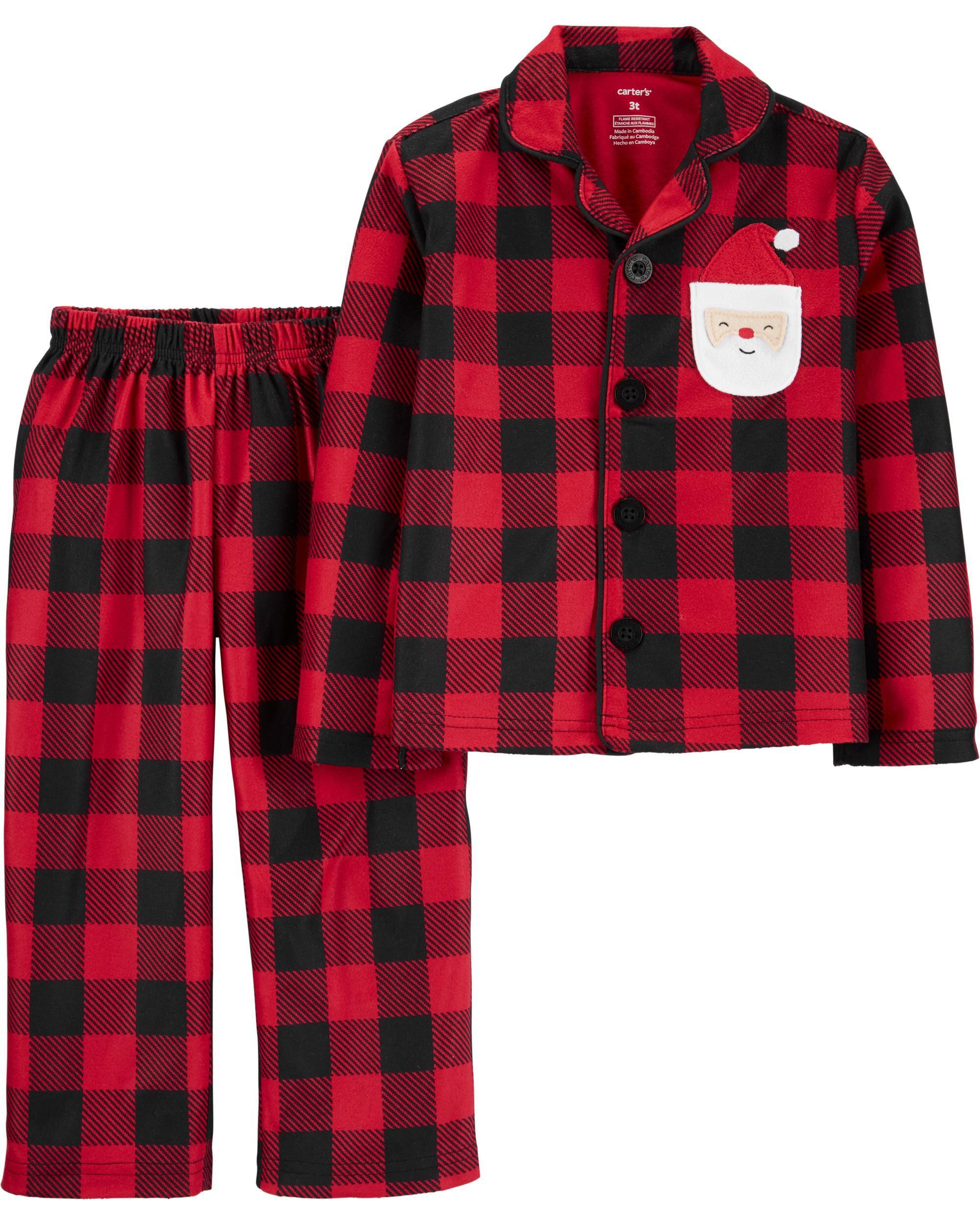 2-Piece Buffalo Check Coat Style Fleece PJs