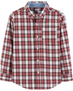 plaid poplin button front shirt - Christmas Shirts For Boys