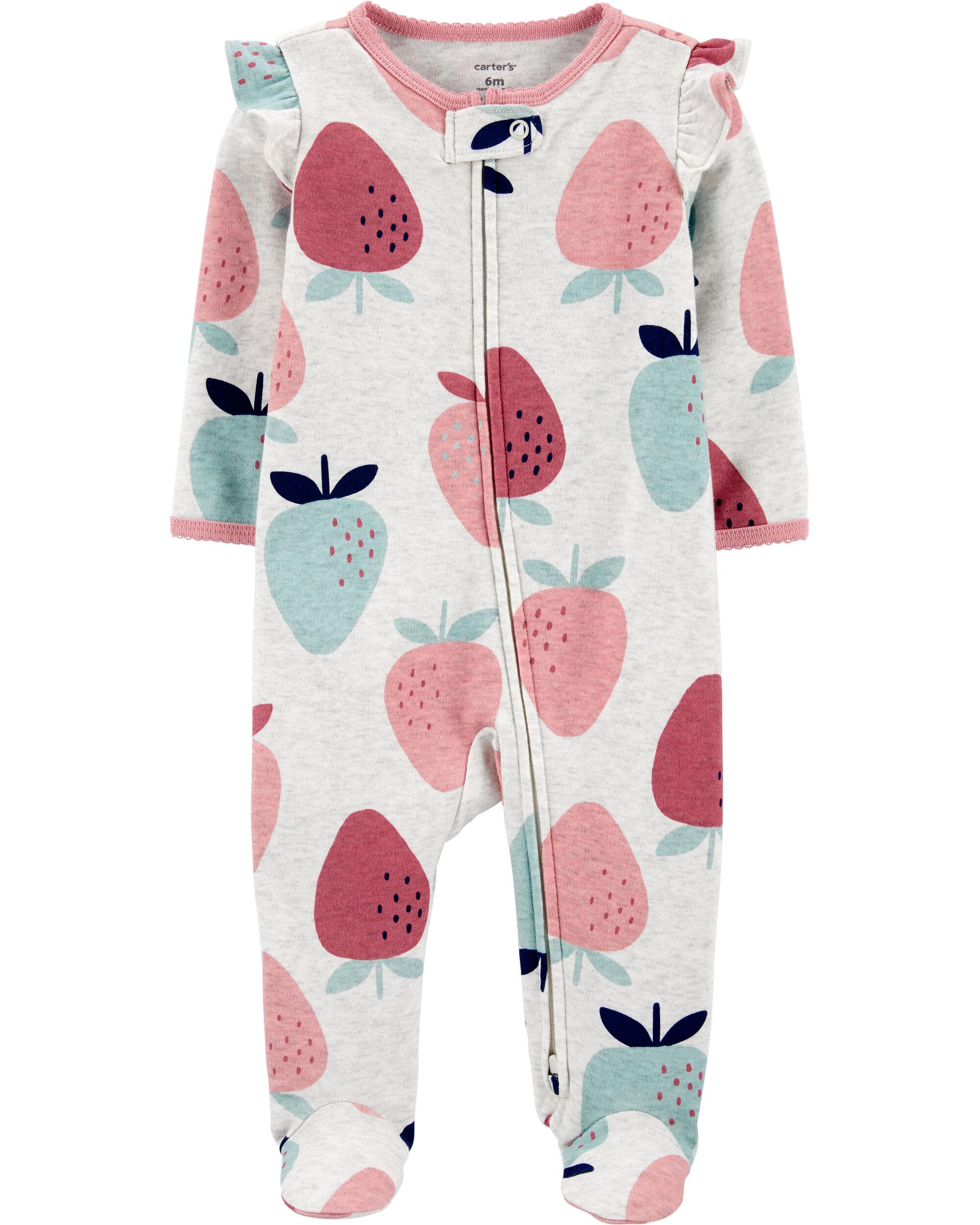 Strawberry 2-Way Zip Cotton Sleep & Play