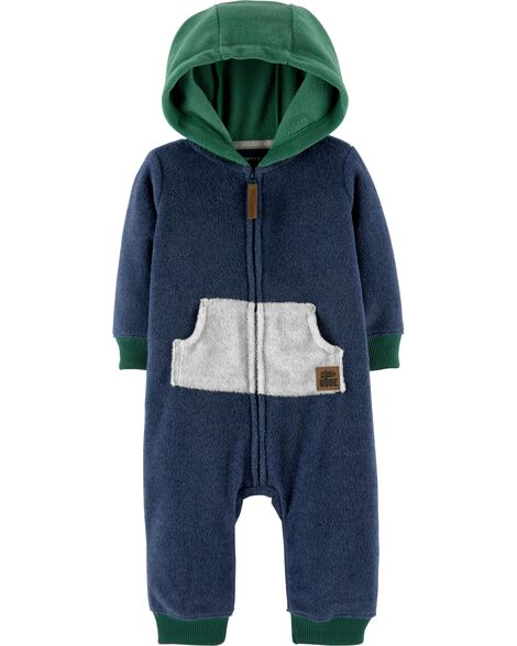 Zip-Up Hooded Fleece Jumpsuit