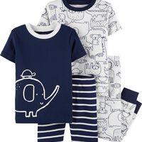 Deals on 2 Carters 4-Piece Elephant Snug Fit Cotton PJs