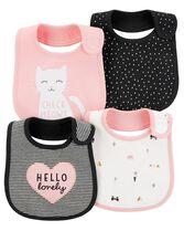 4-Pack Kitty Teething Bibs, Color, hi-res