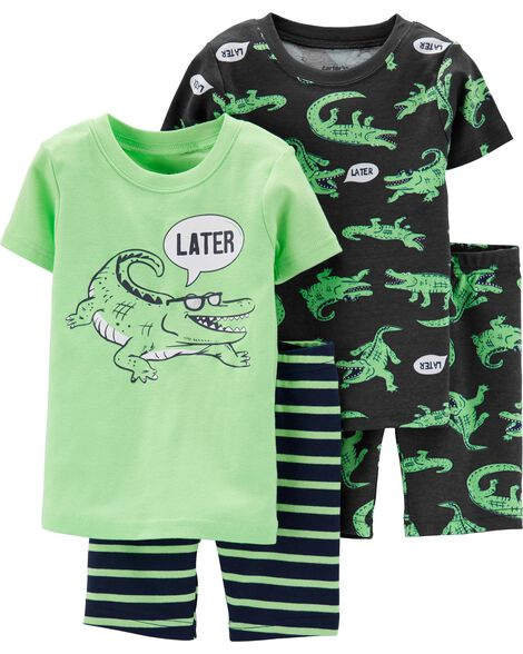 50084f888b4d 4-Piece Alligator Snug Fit Cotton PJs
