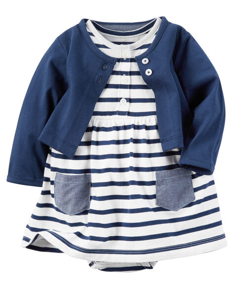 1134ceee3 2-Piece Bodysuit Dress & Cardigan Set | Carters.com