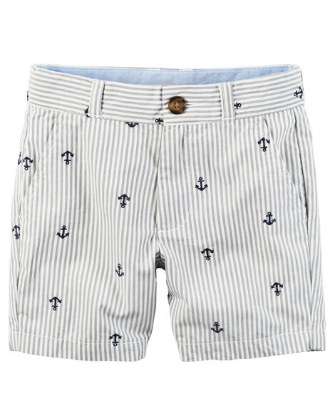 Embroidered Flat-Front Twill Shorts