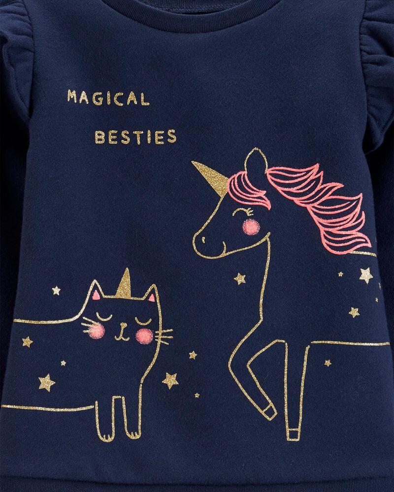 Carters Girls Ruffled Magical Besties 2 pc Fleece Top /& Striped Legging Set NWT