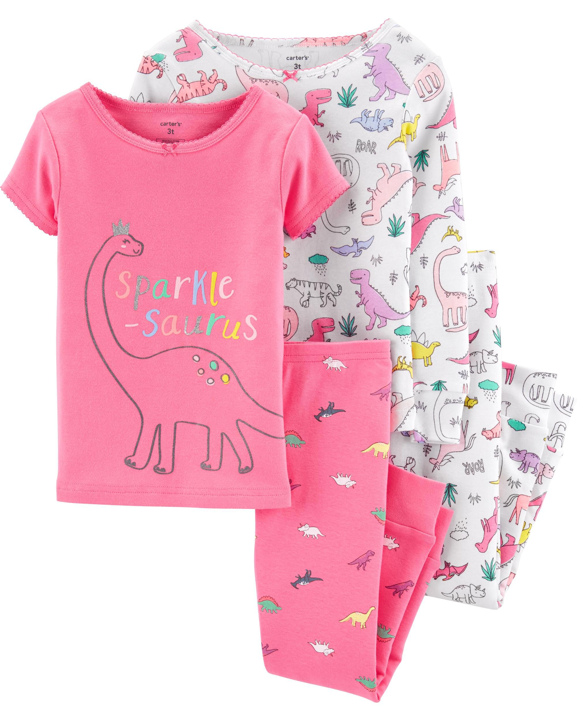 Carters Toddler and Baby Girls 4 Piece Cotton Pajama Set Unicorn, 3T