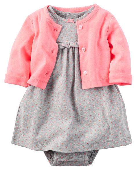 8b3dab1a6 2-Piece Babysoft Bodysuit Dress   Neon Cardigan Set