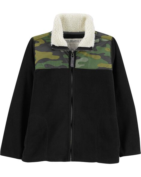 4ee71448b Camo Zip-Up Fleece Jacket