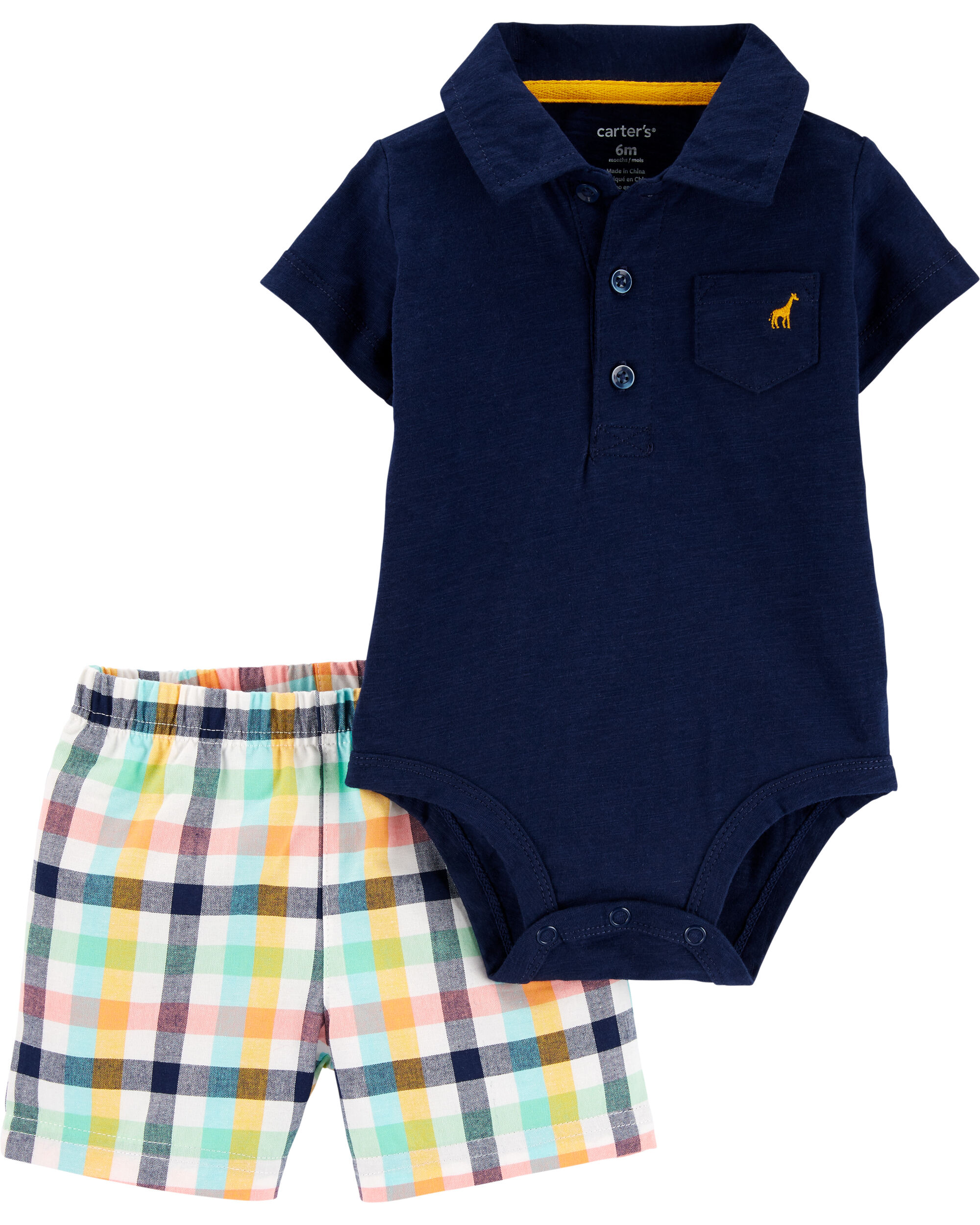 *DOORBUSTER* 2-Piece Polo Bodysuit & Plaid Short Set