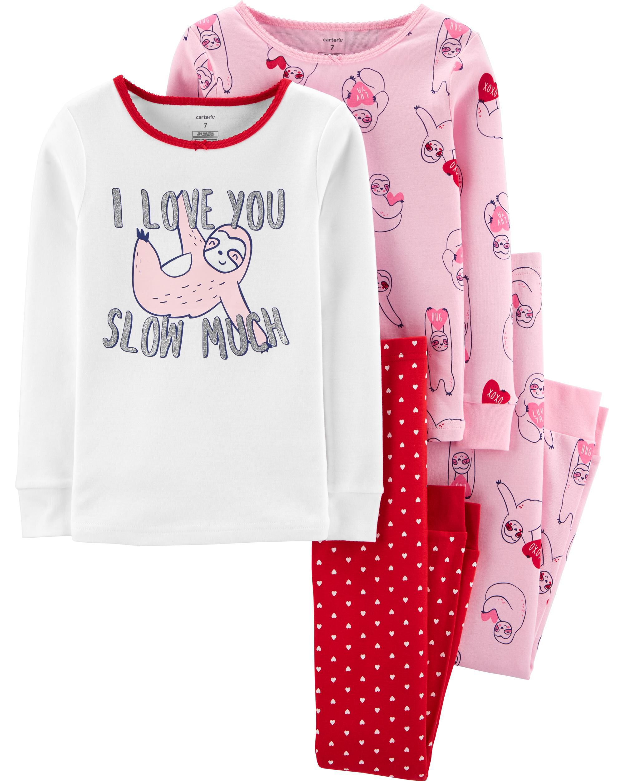 4-Piece Valentine's Day Snug Fit Cotton PJs