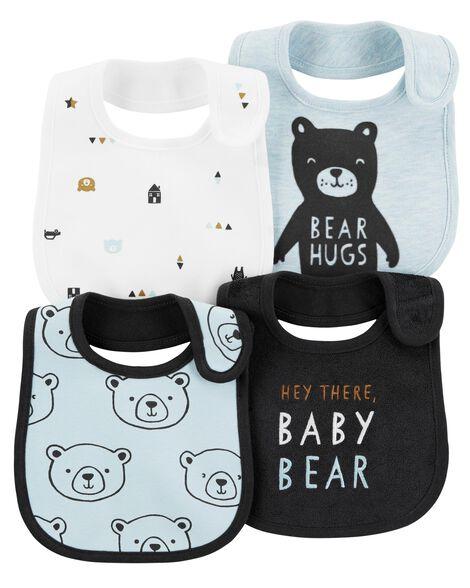 4-Pack Bear Teething Bibs