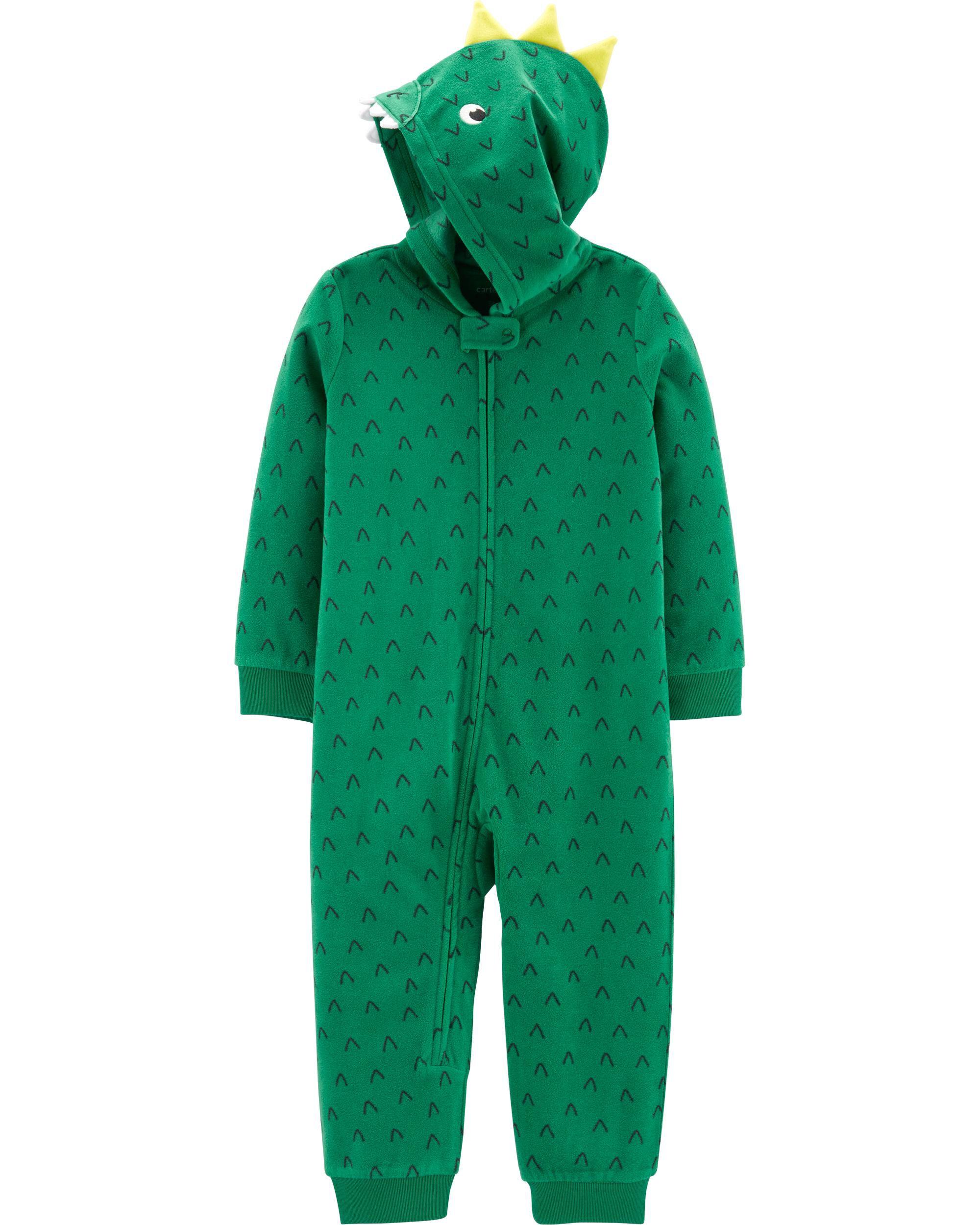 *CLEARANCE* 1-Piece Dinosaur Hooded Fleece Footless PJs