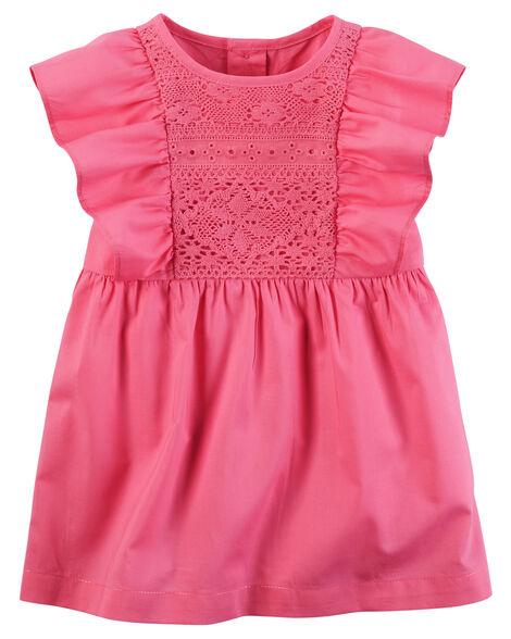 Ruffle-Sleeve Poplin Dress