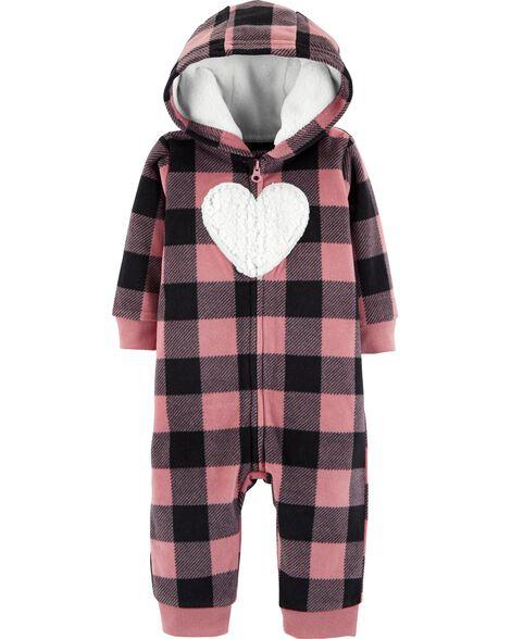 02dc7b014 Plaid Hooded Fleece Jumpsuit