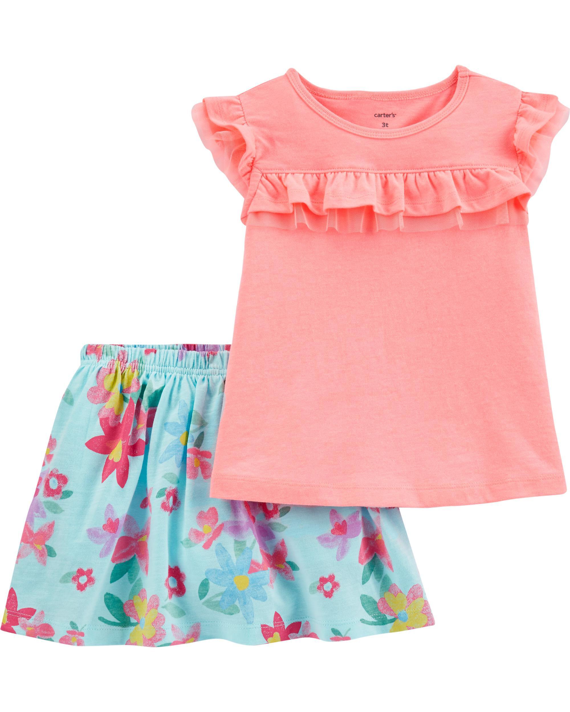 *CLEARANCE* 2-Piece Tulle-Trim Flutter Top & Floral Skort Set