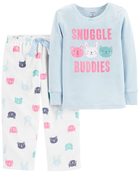 2-Piece Snuggle Buddies Snug Fit Cotton & Fleece PJs