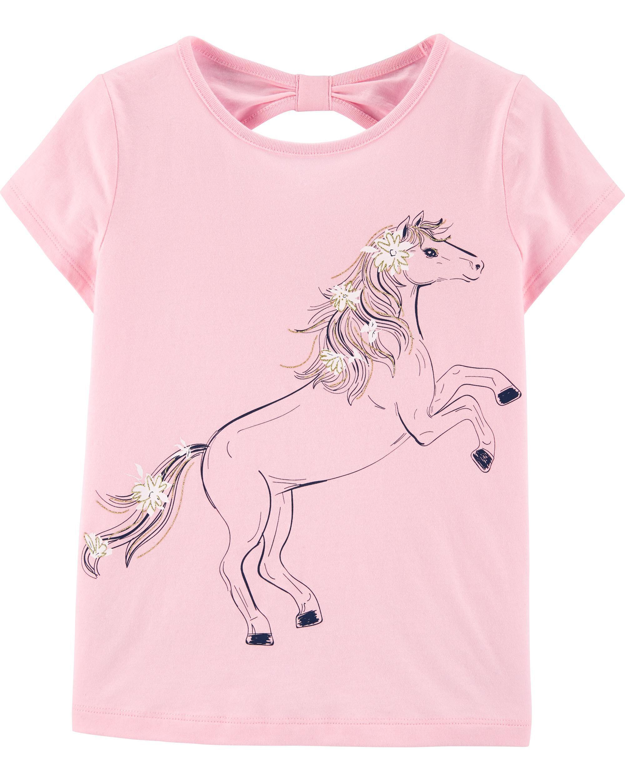 *DOORBUSTER* Glitter Horse Bow Back Jersey Tee