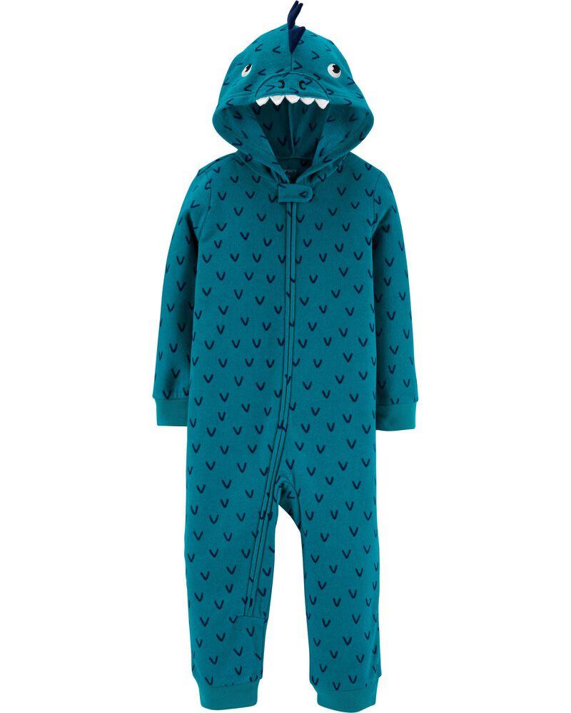 New Carter/'s 12m Boys 1 piece Fleece PJs Pajamas Dinosaur Print Dino Blue White