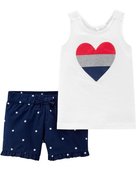 2-Piece 4th Of July Tank & Star Short Set