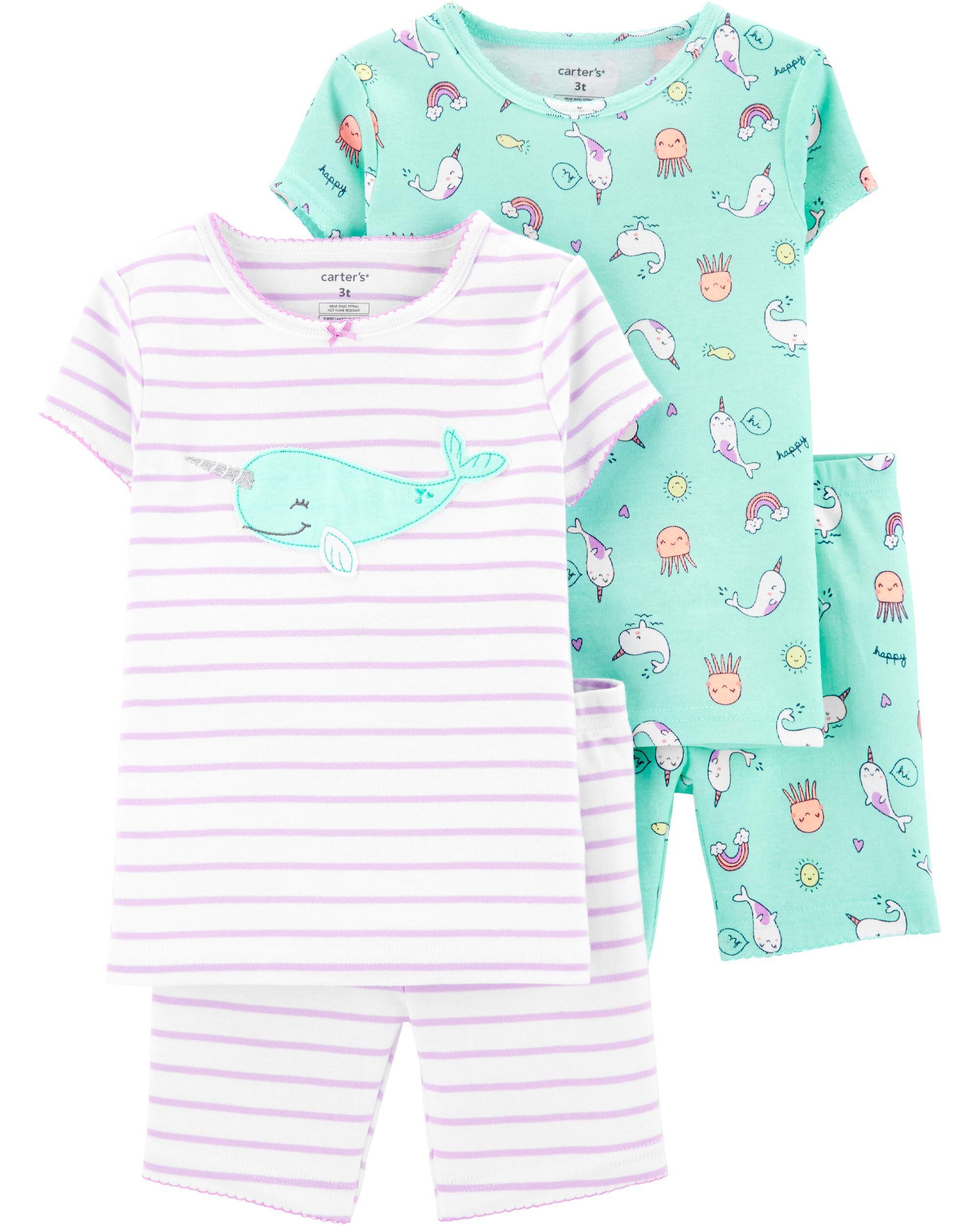 3b9848e21a9eb 4-Piece Narwhal Snug Fit Cotton PJs | Carters.com