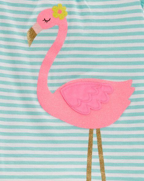 2-Piece Flamingo Top & Capri Legging Set