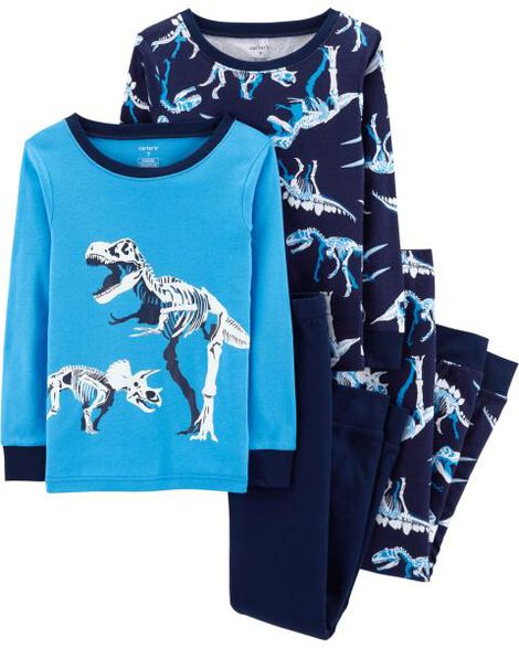 4-Piece Dinosaurs Snug Fit Cotton PJs