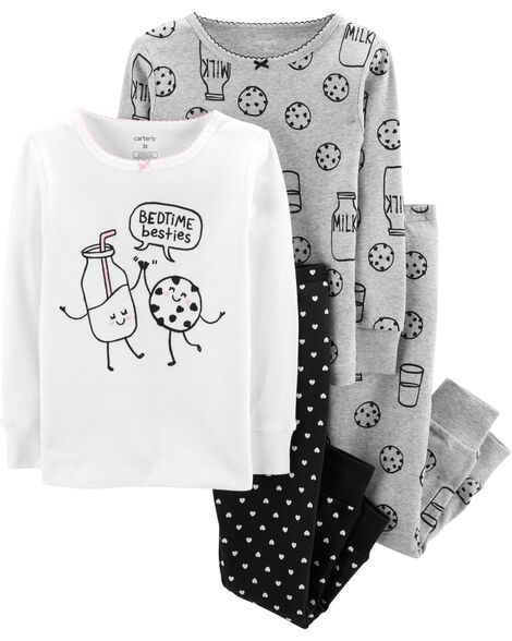d9df876775e2 4-Piece Milk   Cookies Snug Fit Cotton PJs