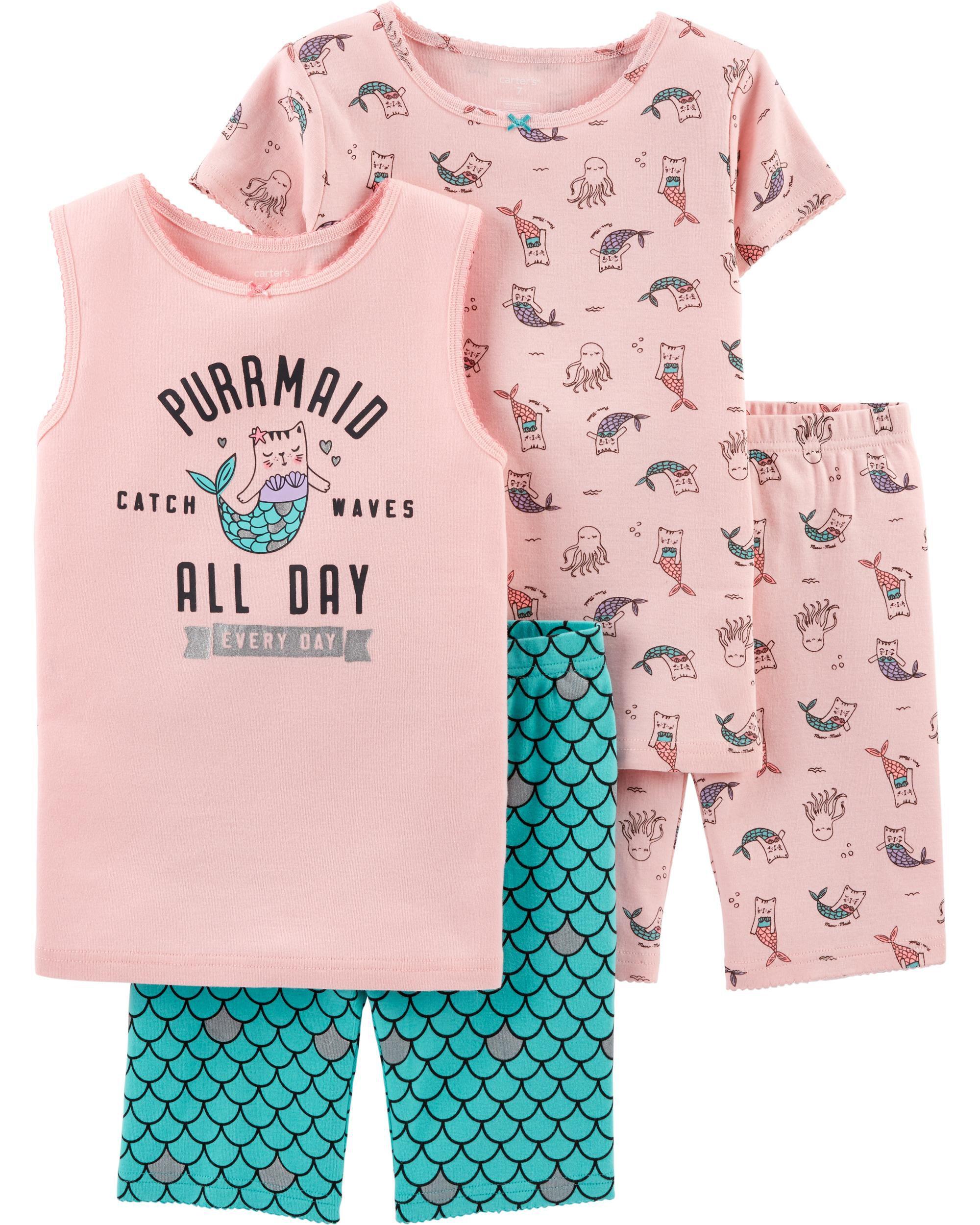 New Carter/'s Girls Kitty Mermaid Pajama Set Shorts Pink Toddler sizes